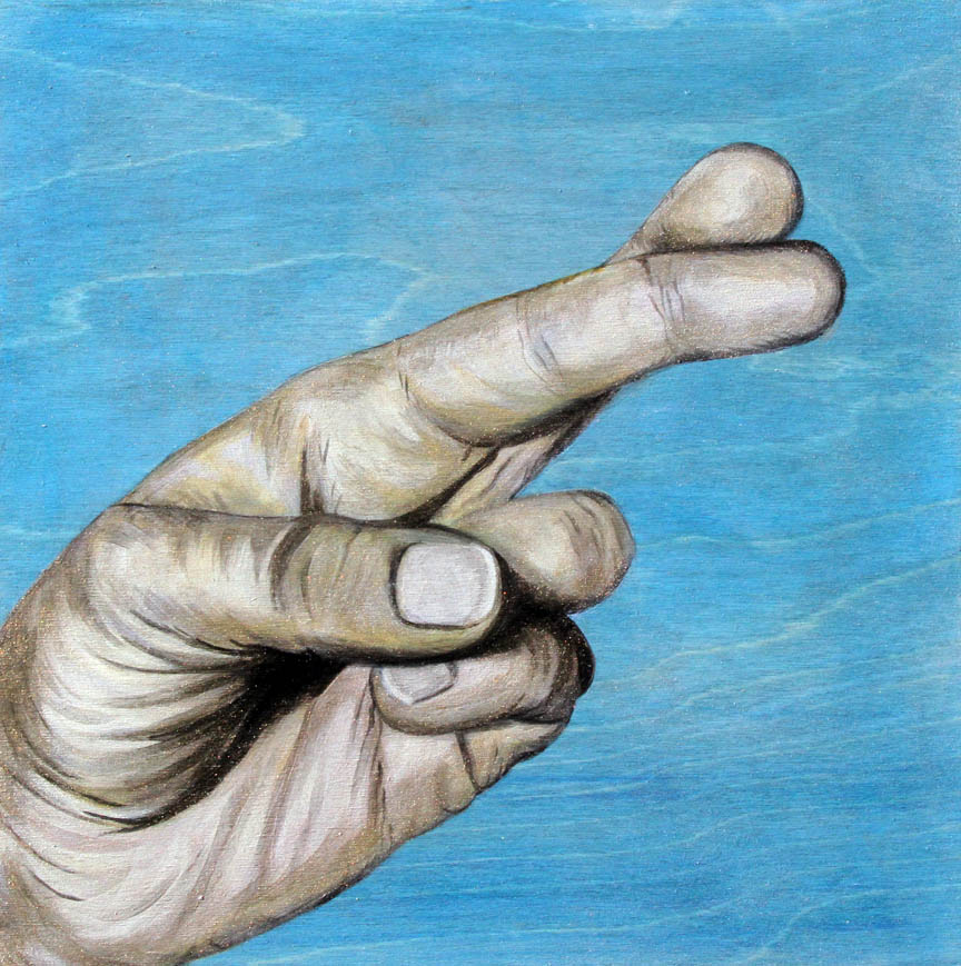 "FINGERS CROSSED / ACRYLIC / 12"" X 12"" / 2011"