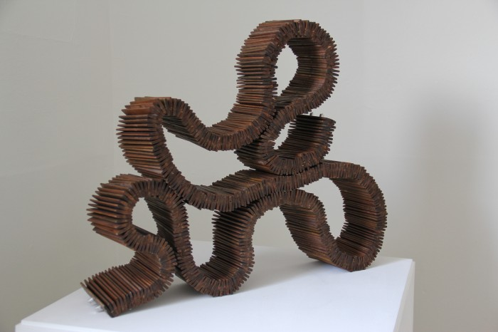 """Early Morning"" is made from reclaimed wooden blinds & it is a moveable sculpture."