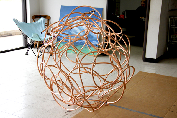 tangled -  - All wound up - copper sculpture